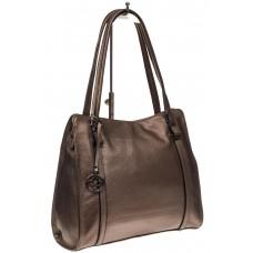 На фото 1 - Женская сумка шоппер из натуральной кожи, цвет бронза