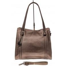 На фото 2 - Женская сумка шоппер из натуральной кожи, цвет бронза