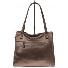 На фото 3 - Женская сумка шоппер из натуральной кожи, цвет бронза
