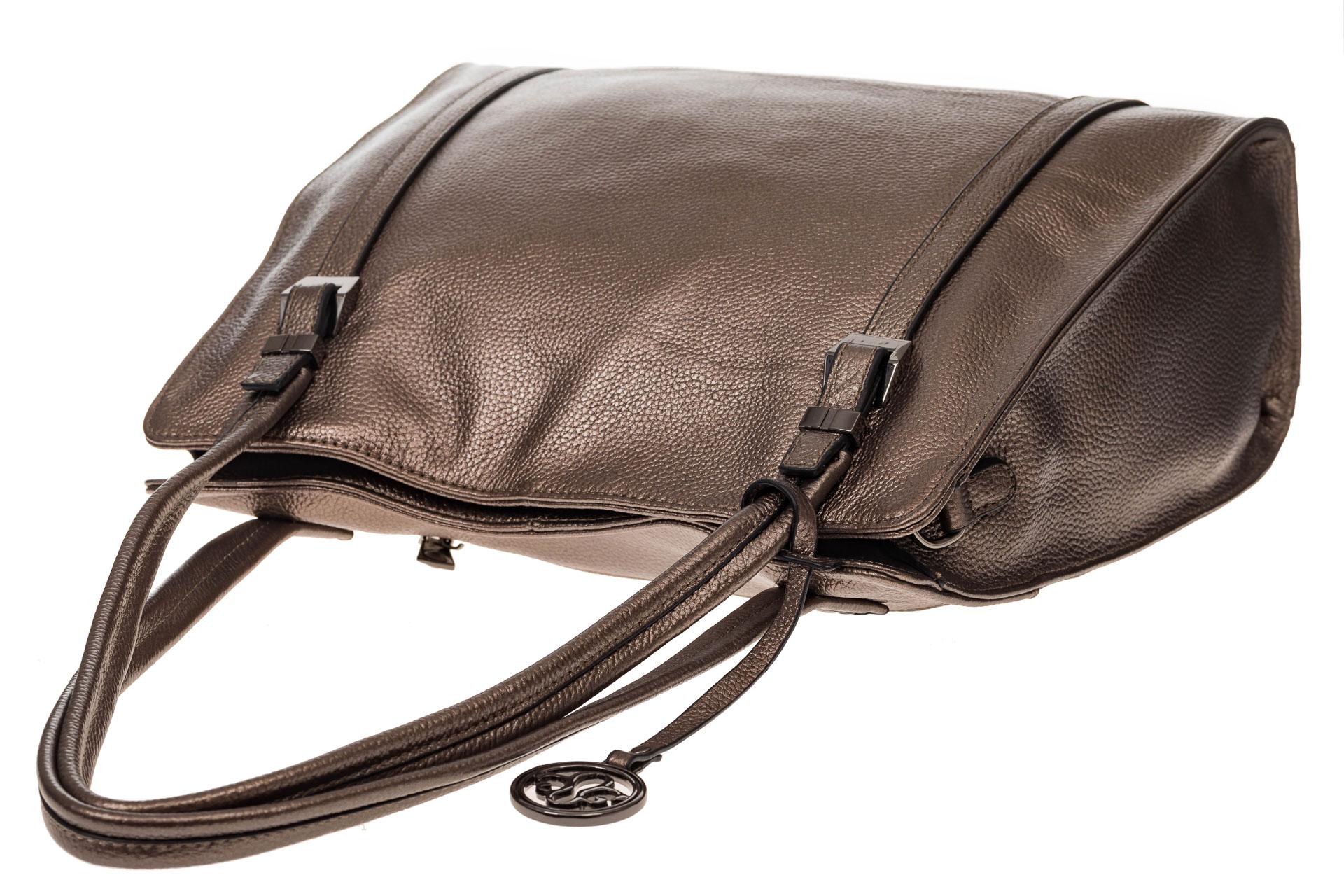 На фото 4 - Женская сумка шоппер из натуральной кожи, цвет бронза