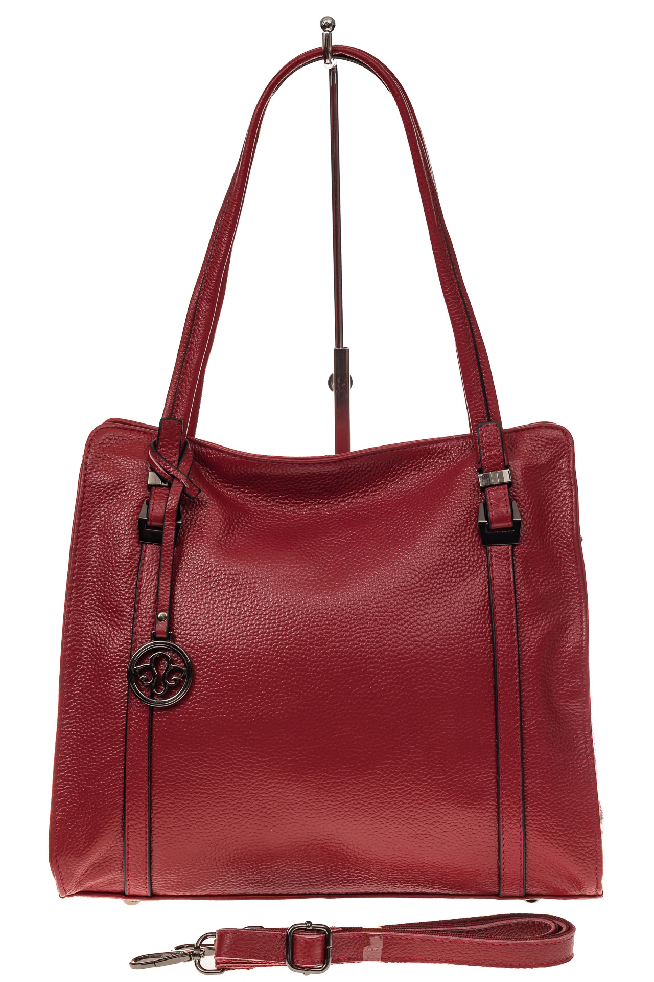 На фото 2 - Женская сумка шоппер из натуральной кожи, цвет красный