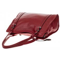 На фото 4 - Женская сумка шоппер из натуральной кожи, цвет красный