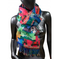 На фото 1 - Шарф-палантин из кашемира и шерсти с абстрактной живописью, мультицвет