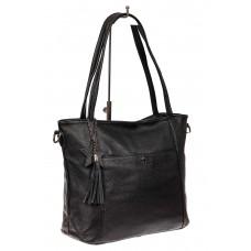 На фото 1 - Кожаная сумка шоппер, цвет черный