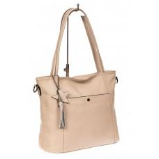 На фото 1 - Кожаная сумка шоппер, цвет бежевый