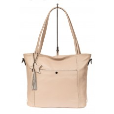 На фото 2 - Кожаная сумка шоппер, цвет бежевый