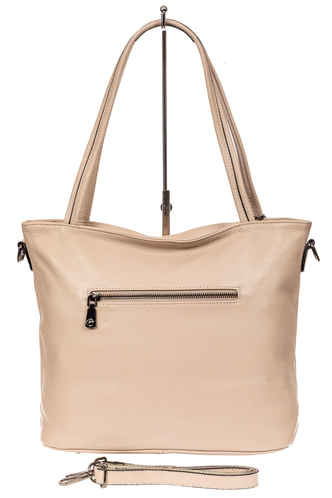 На фото 3 - Кожаная сумка шоппер, цвет бежевый