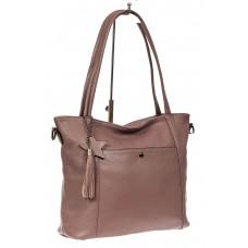 На фото 1 - Кожаная сумка шоппер, цвет розовый
