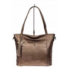 На фото 2 - Кожаная сумка шоппер, цвет золотистый