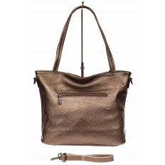 На фото 3 - Кожаная сумка шоппер, цвет золотистый