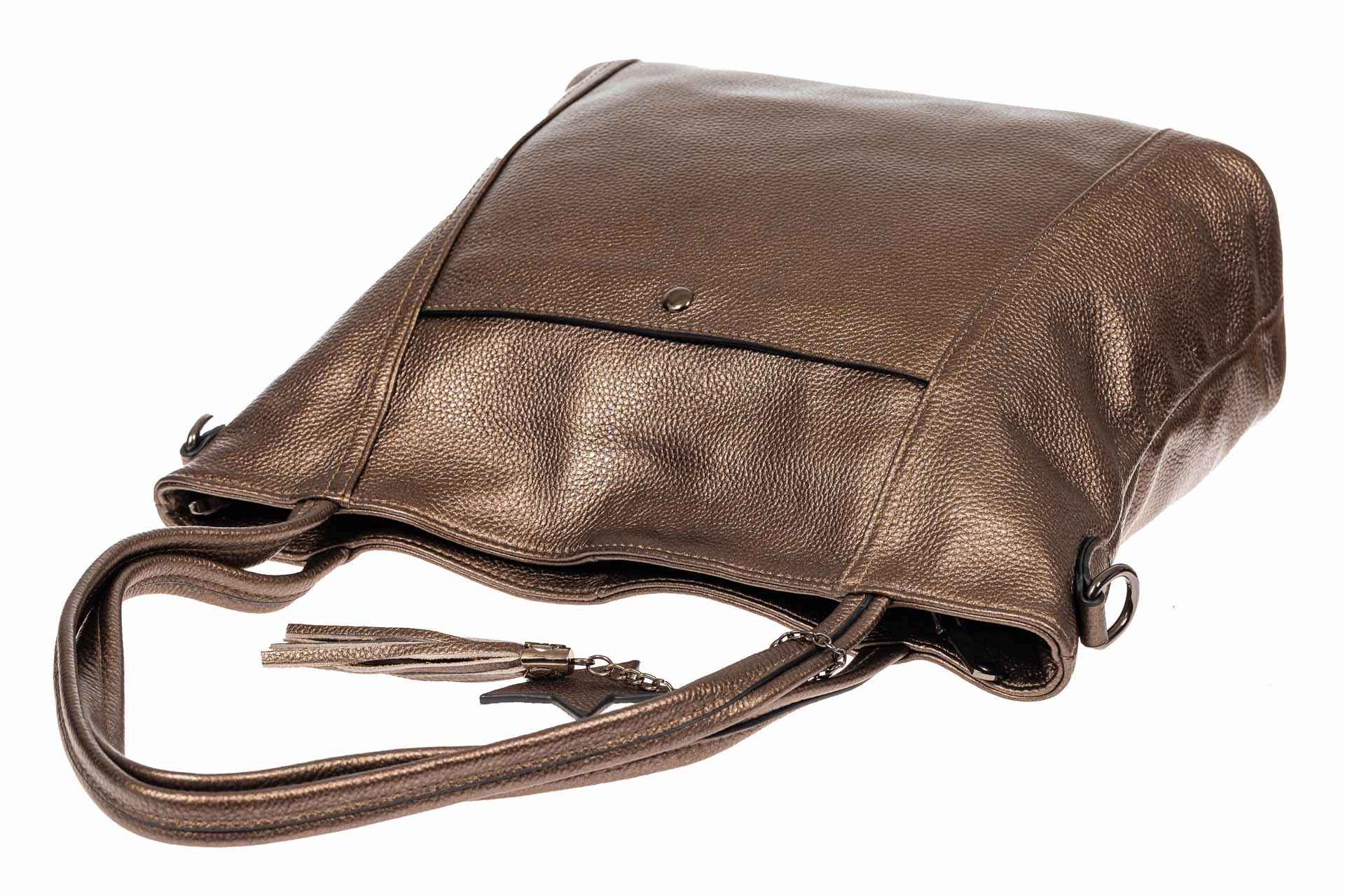 На фото 4 - Кожаная сумка шоппер, цвет золотистый
