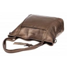 На фото 5 - Кожаная сумка шоппер, цвет золотистый