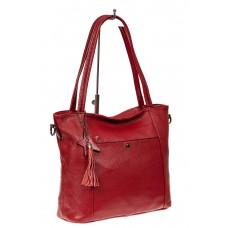 На фото 1 - Кожаная сумка шоппер, цвет красный