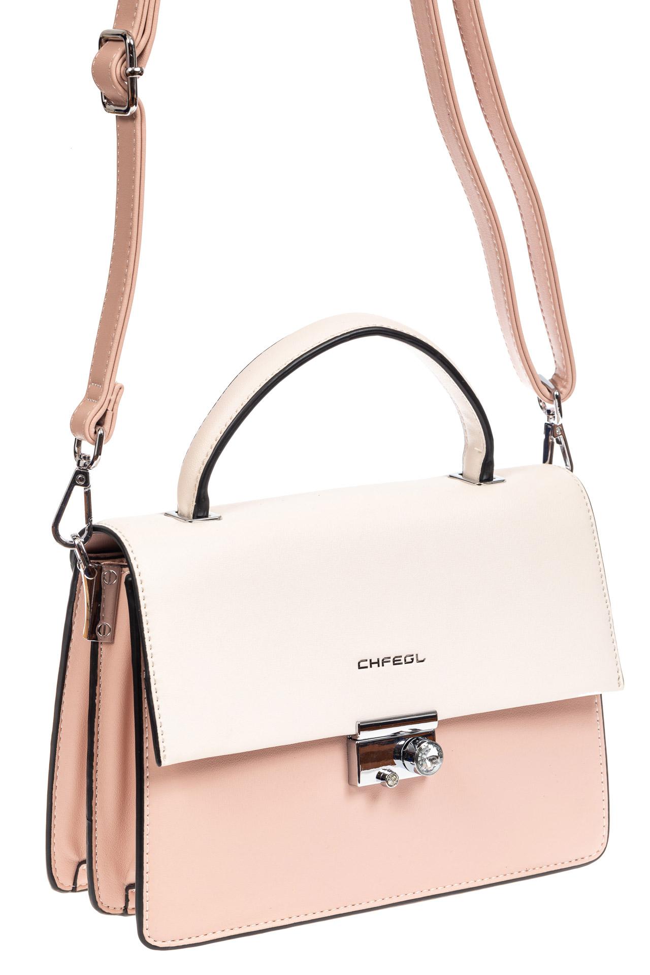 На фото 1 - Легкая летняя сумка с клапаном из экокожи, цвет розовый