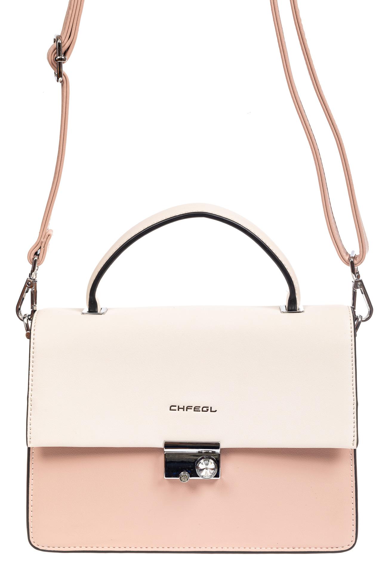На фото 2 - Легкая летняя сумка с клапаном из экокожи, цвет розовый