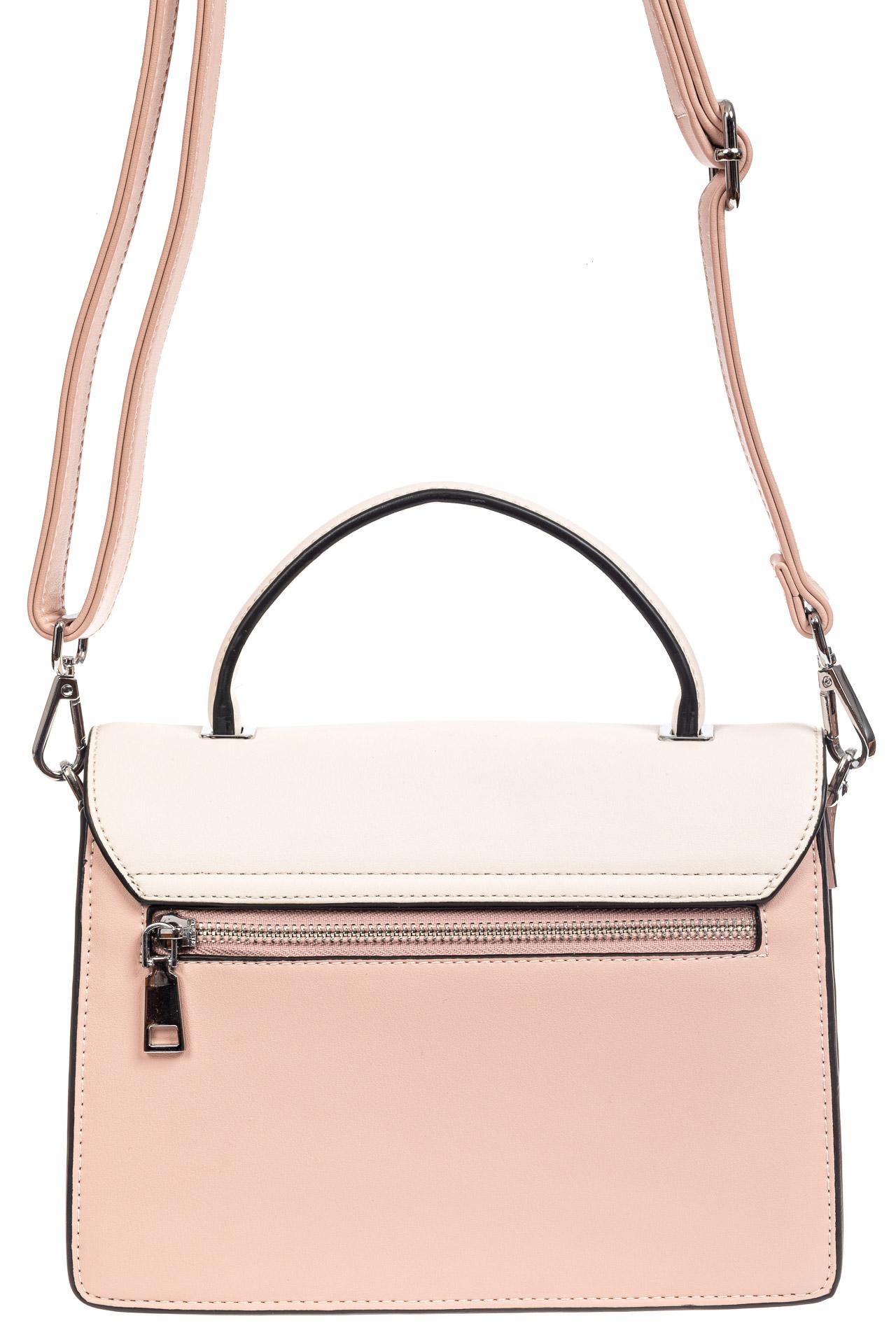 На фото 3 - Легкая летняя сумка с клапаном из экокожи, цвет розовый