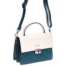 На фото 1 - Легкая летняя сумка с клапаном из экокожи, цвет синий