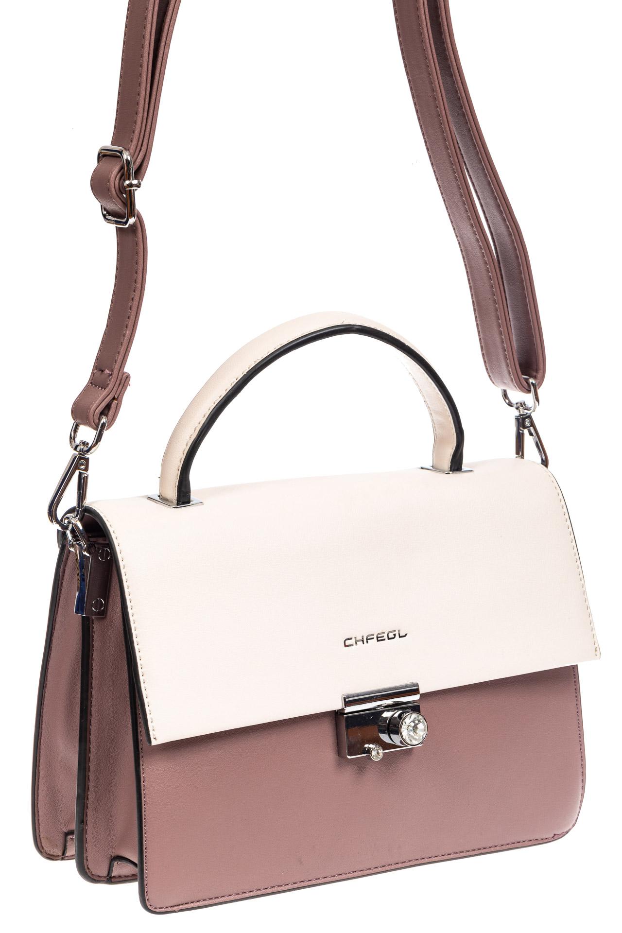 На фото 1 - Легкая летняя сумка с клапаном из экокожи, цвет пудра