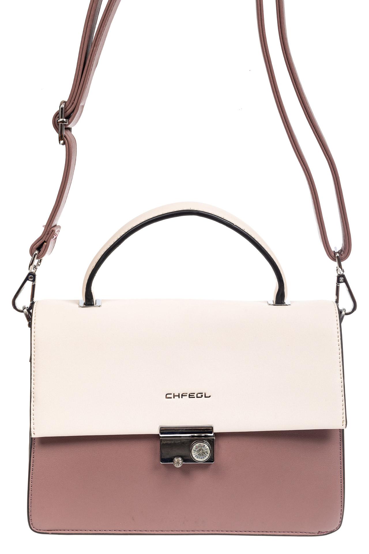 На фото 2 - Легкая летняя сумка с клапаном из экокожи, цвет пудра
