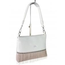 На фото 1 - Вечерняя сумка из мягкой экокожи со стразами и подвесками, цвет белый с розовым