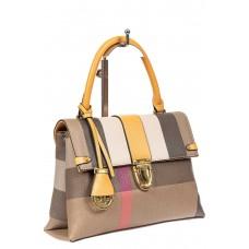На фото 1 - Полосатая сумка-портфель из эко-кожи, мультицвет желтый
