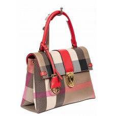 На фото 1 - Полосатая сумка-портфель из эко-кожи, мультицвет с красным