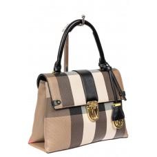 На фото 1 - Полосатая сумка-портфель из эко-кожи, мультицвет с черным