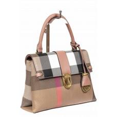 На фото 1 - Полосатая сумка-портфель из эко-кожи, мультицвет с розовым