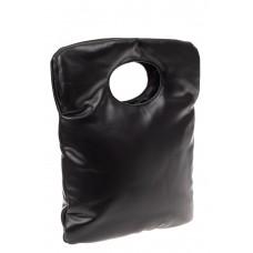 На фото 1 - Дутая сумка женская из эко-кожи, черная