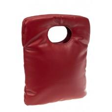 На фото 1 - Дутая сумка женская из кожзама, цвет бордовый