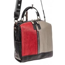 На фото 1 - Сумка рюкзак из искусственной кожи, цвет кр...