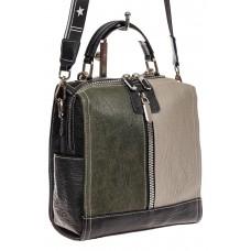 На фото 1 - Сумка рюкзак из искусственной кожи, цвет зе...