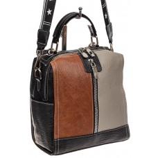 На фото 1 - Сумка рюкзак из искусственной кожи, цвет ко...