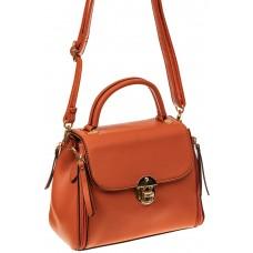 На фото 1 - Женская сумка мини-портфель из искусственной кожи, цвет рыжий