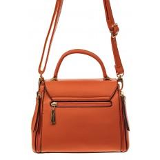 На фото 2 - Женская сумка мини-портфель из искусственной кожи, цвет рыжий
