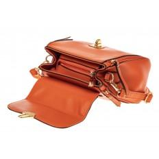 На фото 3 - Женская сумка мини-портфель из искусственной кожи, цвет рыжий