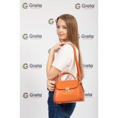 На фото 4 - Женская сумка мини-портфель из искусственной кожи, цвет рыжий