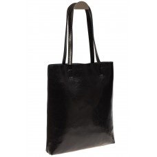 На фото 1 - Кожаная сумка-пакет черного цвета