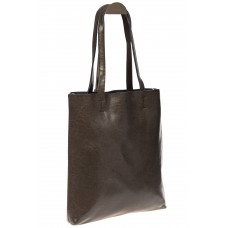 На фото 1 - Кожаная сумка-пакет серого цвета
