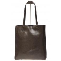 На фото 3 - Кожаная сумка-пакет серого цвета