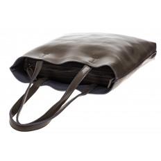 На фото 4 - Кожаная сумка-пакет серого цвета