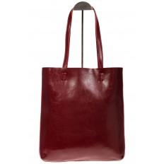 На фото 2 - Кожаная сумка-пакет бордового цвета