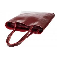 На фото 4 - Кожаная сумка-пакет бордового цвета
