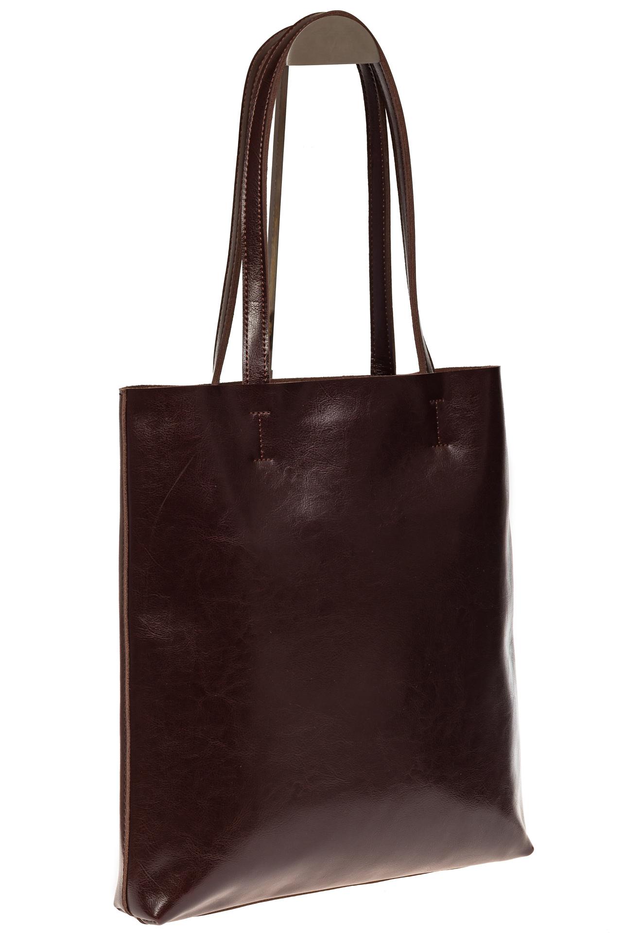 На фото 1 - Кожаная сумка-пакет цвета кофе