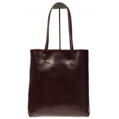 На фото 3 - Кожаная сумка-пакет цвета кофе