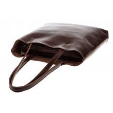 На фото 4 - Кожаная сумка-пакет цвета кофе