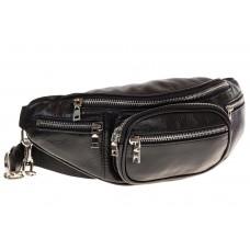 на фото Поясная сумка-кошелек из натуральной кожи, цвет черный 2002MK5