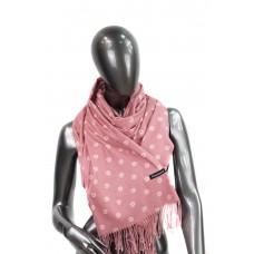 На фото 1 - Шарф-палантин в ромашках из кашемира, цвет розовый