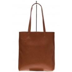На фото 3 - Кожаная сумка-пакет рыжего цвета