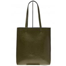 На фото 2 - Кожаная сумка-пакет зеленого цвета